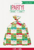 Holly Santa Jumbo Plastic Gift Bag